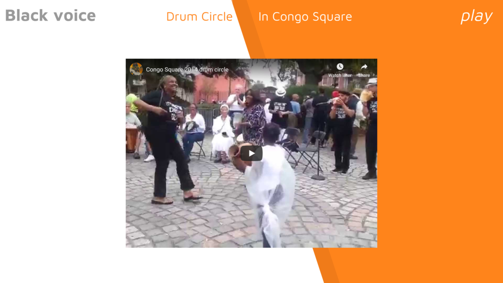 """We used rhythm sticks to measure the syllables """"free-dom"""" and """"Con-go Square"""". Then played along with the drummers in the video, varying pace and patterns. It was a hit!"""