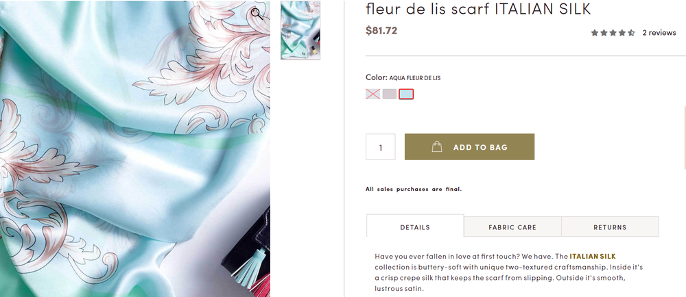 Luxury Fashion Product Descriptions