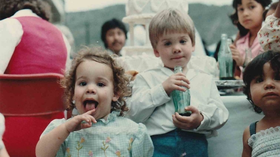 My brother and I, plus locals, circa early 1980s.