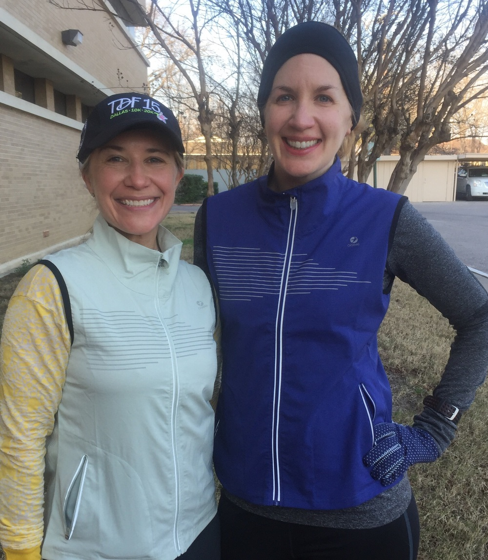 Team member and new friend Valerie and I model our Oiselle running gear.
