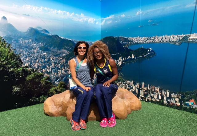 Beautiful and speedy Olympians! Maria Elena Calle in Rio with Marizol Landazuri (100m)