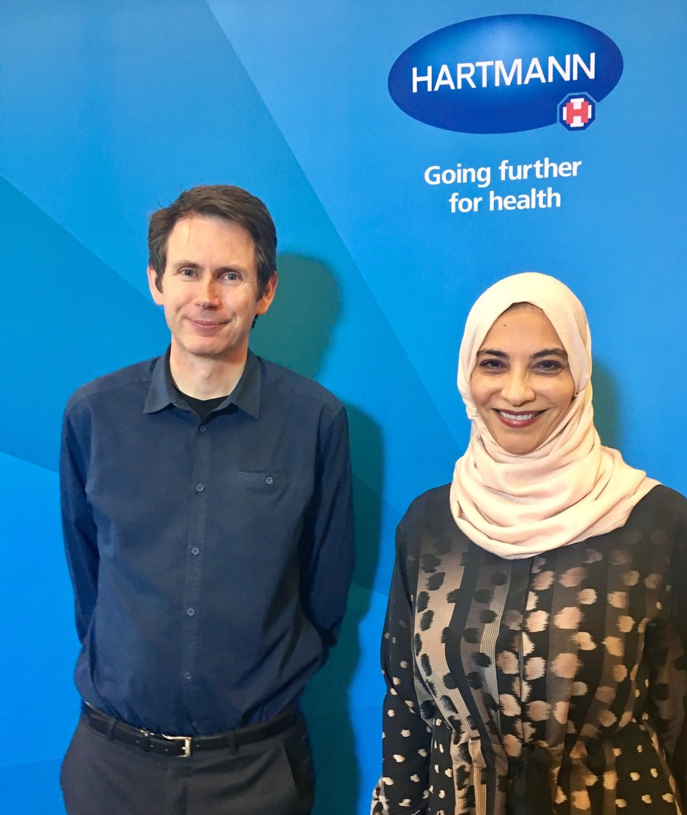 With fellow keynote speaker Hayat Sindi at the Hartmann Group Annual Conference.