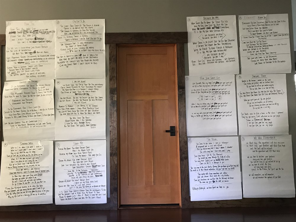 I adopted this new way of writing with GATHER that I carried into the process for this album too. All the lyrics on huge sticky notes for me to track changes and get the greater narrative… much like Joel calls us into.