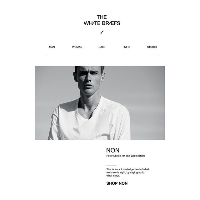 Peter Saville x TWB web design and build for @thewhitebriefs_official