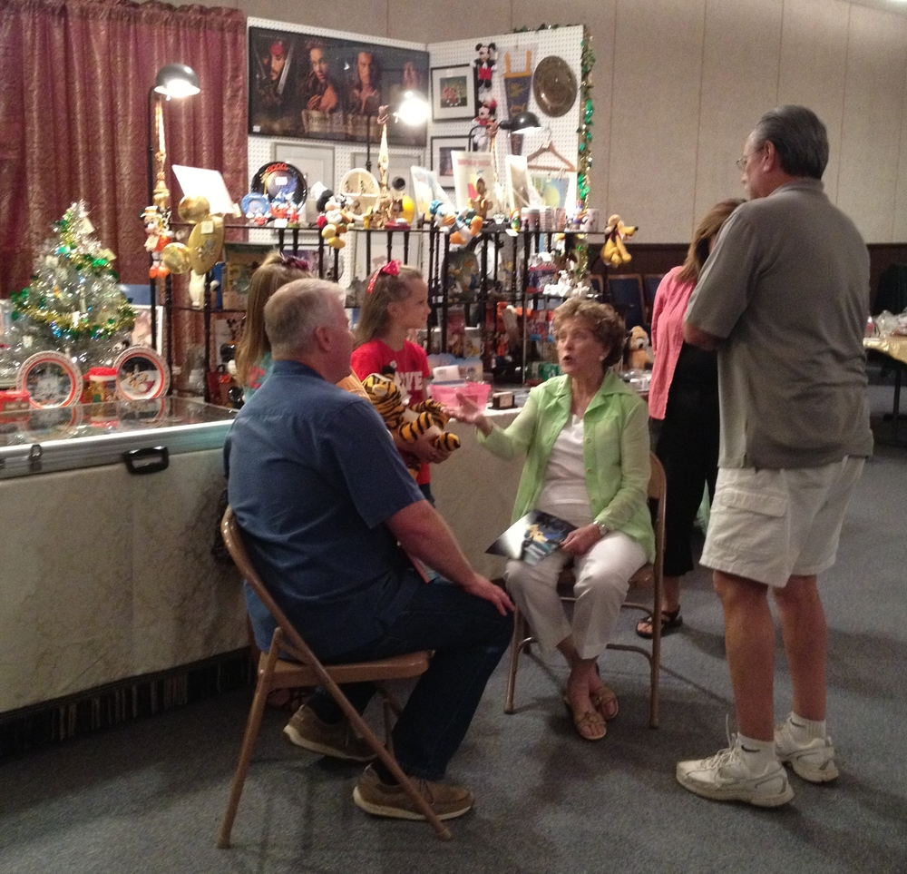 Click Image to Read Article  Margaret Kerry, the original model for Tinkerbell, talks with Don Ballard, author of a series of Disneyland Hotel books, and Sierra Star editor, Brian Wilkinson. We provided props for the girls- a large stuffed Happy from Snow White and the Seven Dwarfs and our bouncy Tigger from the 1960s. What an incredible day!