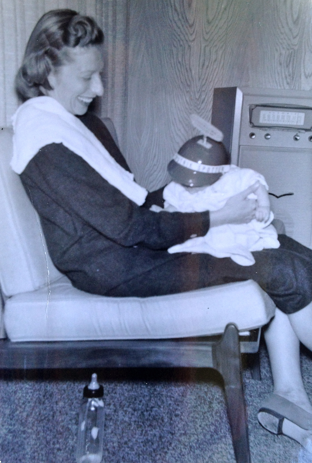 Judith O'Donnell, in a Sputnik beanie with her mother Gardena, California. December, 1957