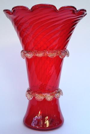 Ruby Red Murano Mazzega Vase C 1950s Antico