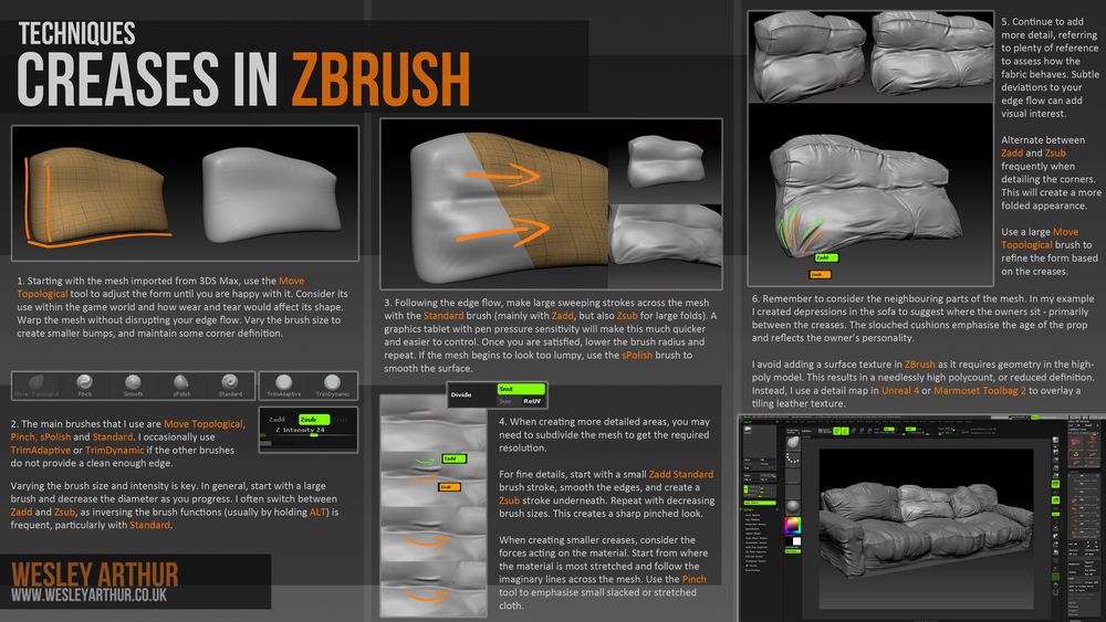 A breakdown of how I sculpt fabric creases in ZBrush
