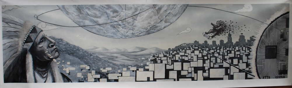 'Past,Present & Future' Acrylic and Aerosol on canvas 28''x 8'