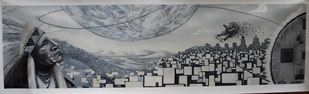 'Past,Present & Future' Acrylicand Aerosol on canvas 28''x 8'