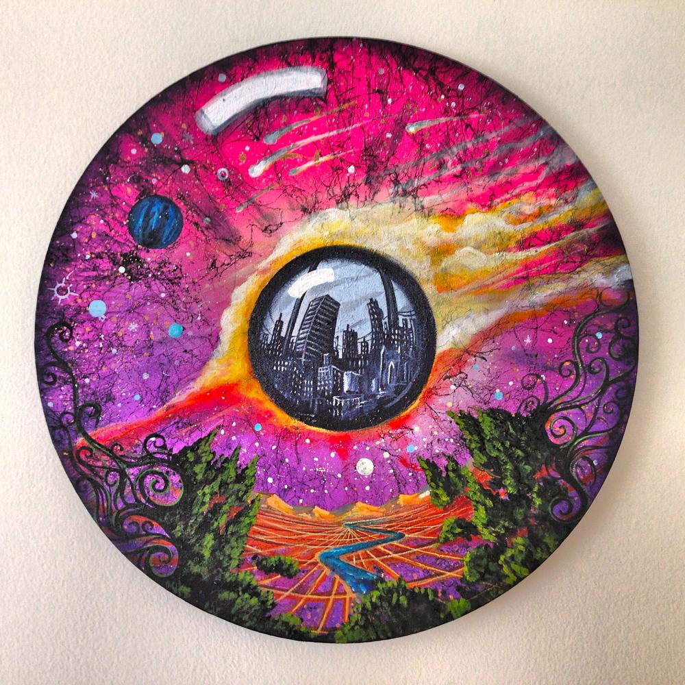 'Portal' Acrylicand Aerosol on canvas 20''x20''