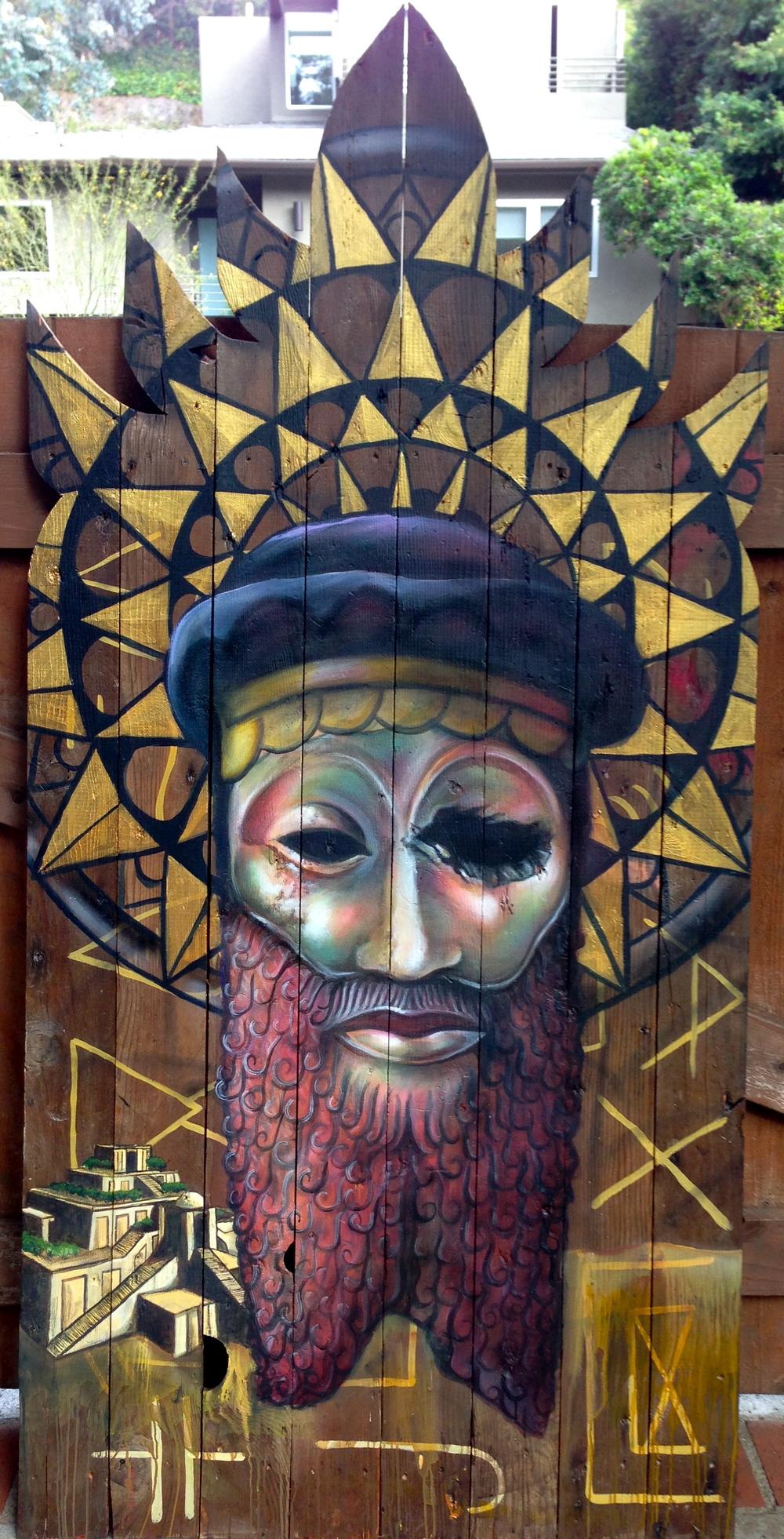 'Lost Culture' Acrylicand Aerosol on wood 48''x 86''