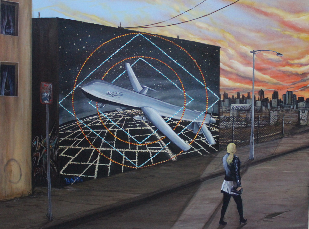 'Drone Airlines' Acrylic and Aerosol  on canvas 30'x40'