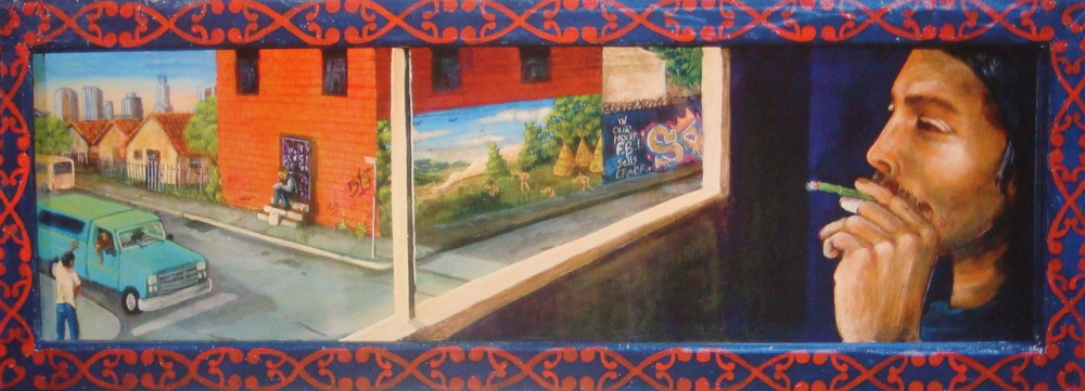 'Room with a view' Acrylic on canvas 12''x32''