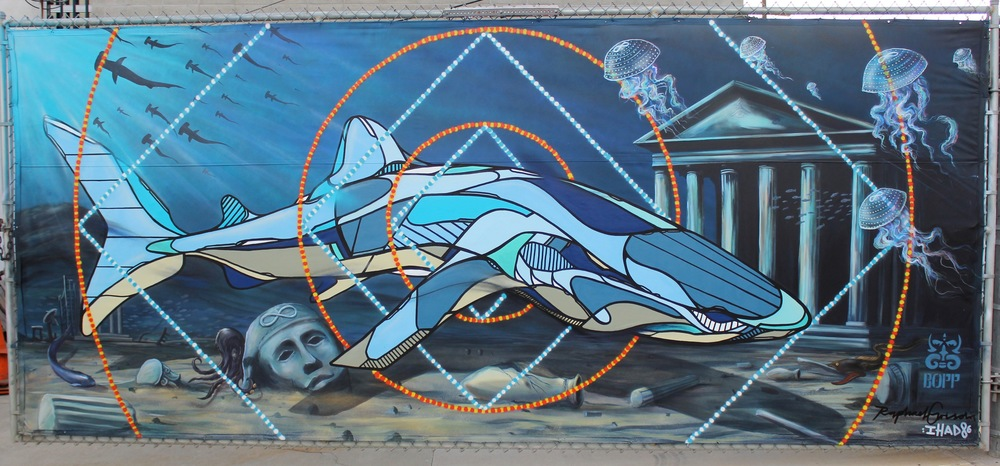 'Under the Sea' Collaboration with Raphael Grischa, Acrylic and Aerosol 7'x17' Venice, CA