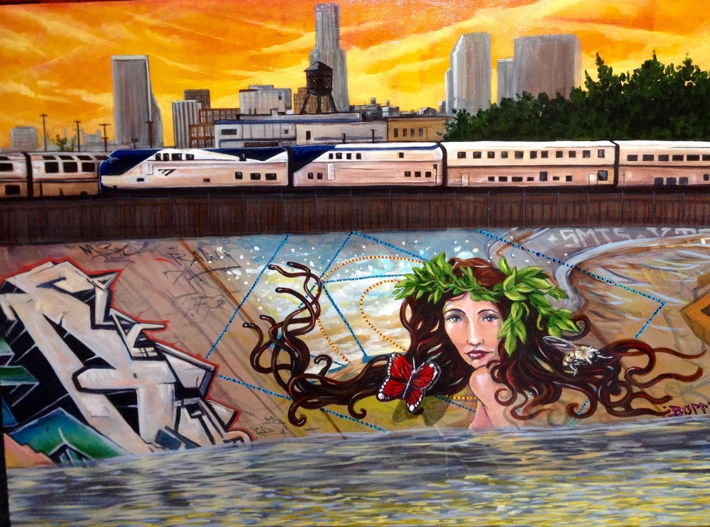 "'LA River' Acrylic and Aerosol 30""x40"""