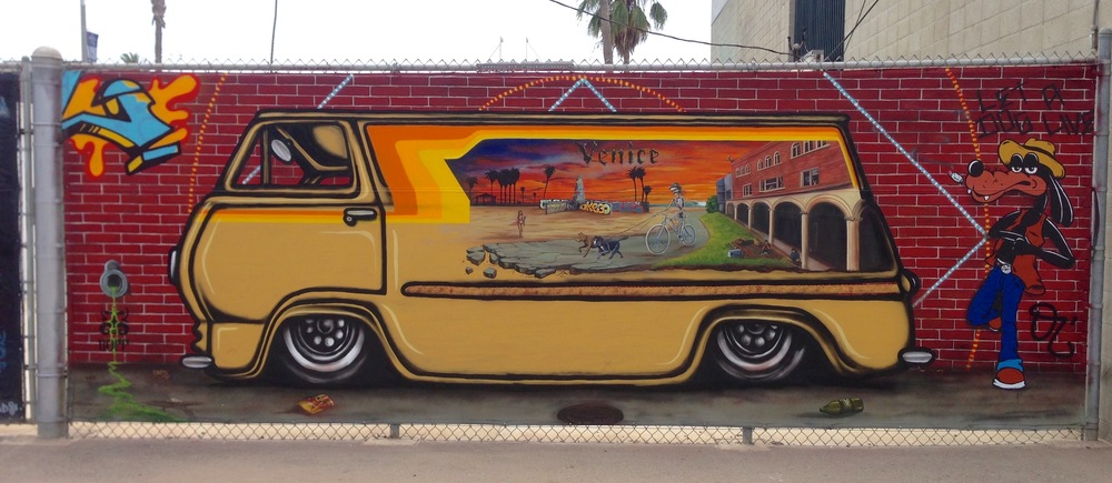 'Let a dog live' Collaboration with Duncan Lemmon, Acrylic and aerosol 7'x18'  Venice, CA