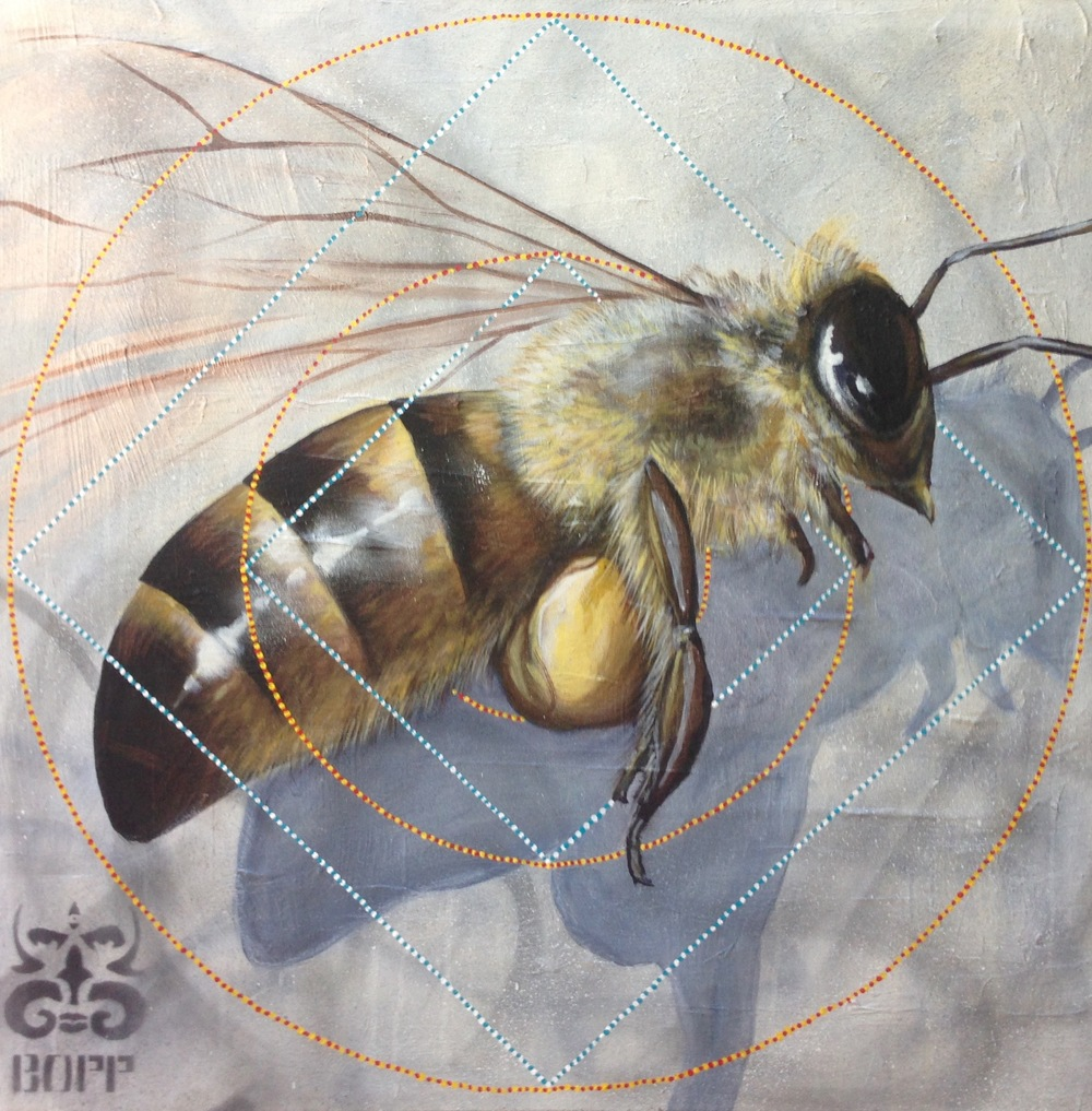 'Bumble'  Acrylic and aerosol on canvas 36''x36''