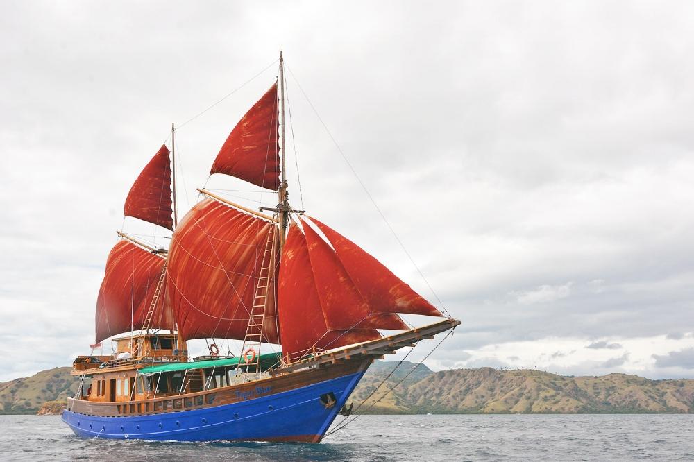 Tiger Blue with full sail, sailing Komodo national park