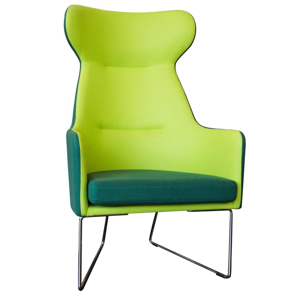 1202 Easy Chair High Back Chair with Flaps and Chrome Legs