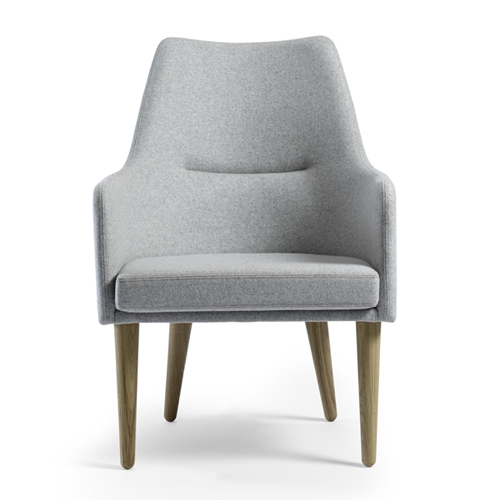 1200 Easy Chair Low Back Chair in Grey Upholstery and Legs in Oak