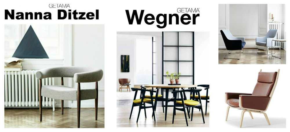 Left to Right: Nanna Ditzel Ring Chair in grey upholstery and oiled wallnut finish. Hans Wegner dining room set GE-525 and GE-526. Bernt Series-1201 pair of easy chairs in blue upholstery and chrome legs. Hans Wegner GE-501A in leather upholstery and oak finish.