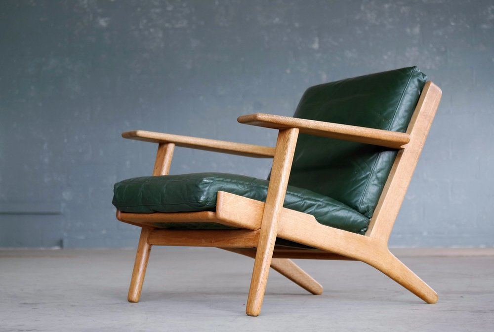 Original Hans Wegner Low Back Lounge Chair Model GE290 For GETAMA Oak And  Green Leather