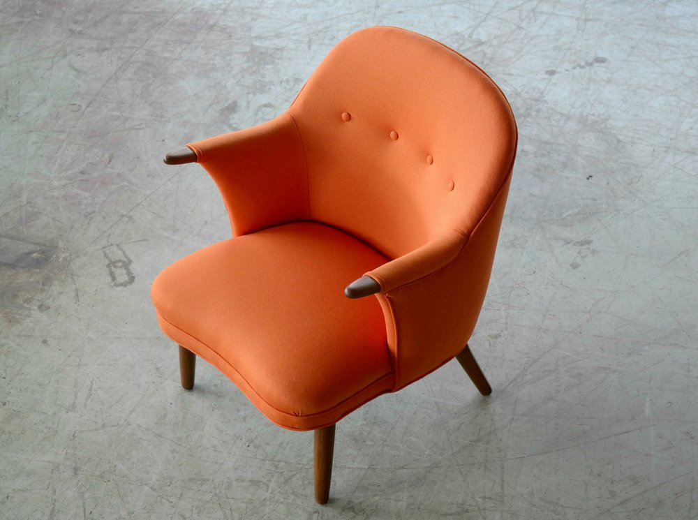 Small Danish Mama Bear Style Lounge Chair in the Manner of Kurt Olsen, 1950s