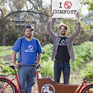 Eric Goff and Dustin Fedako, Compost Pedallers The Compost Pedallers are a bike-powered compost recycling program. Their mission is to transform an entire city's organic waste stream into local food, all without burning a single drop of fossil fuels.