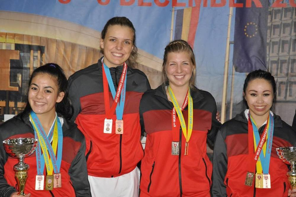 2015 AAU  USA karate team women with medals.jpg