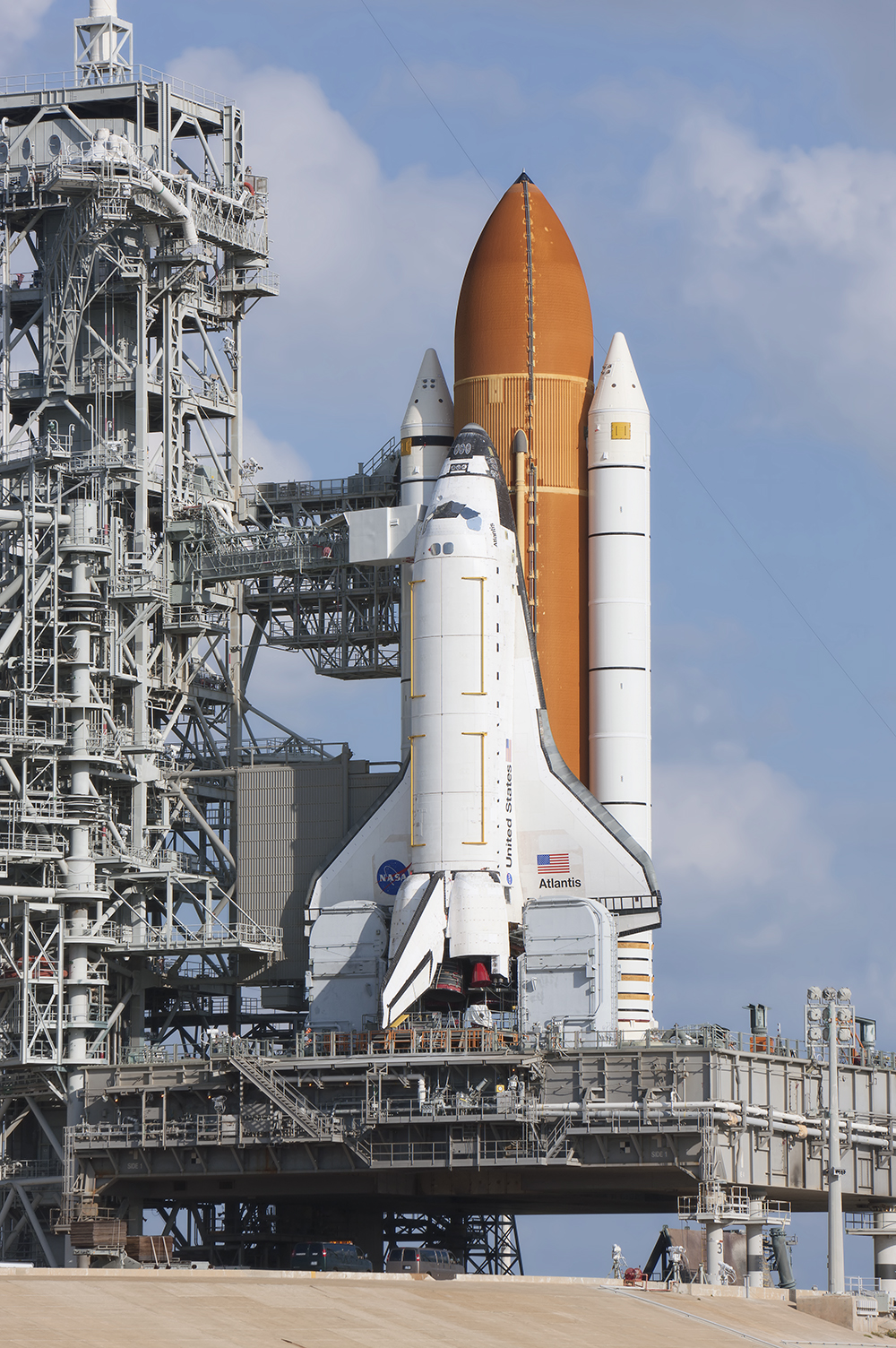 Space Shuttle Atlantis, on Pad 39A for STS-125