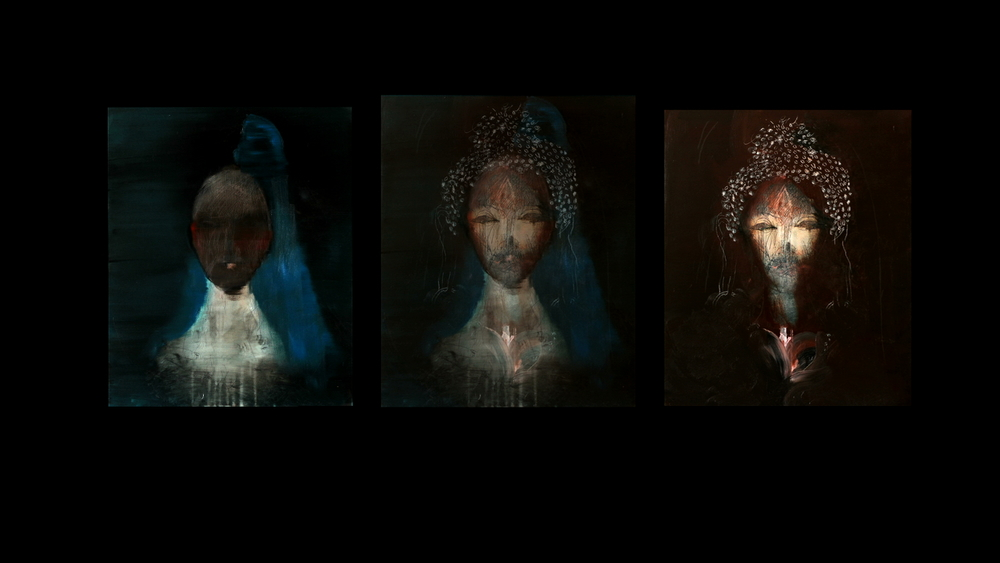 BARDO 7.08  - triptych - a framed 'film painting' - collaboration with Jesse Leroy Smith