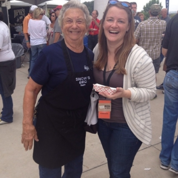 Tootise Tomanetz (pitmaster at Snow's BBQ) and me at Texas Monthly BBQ Fest.