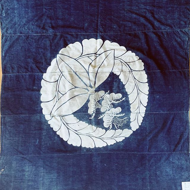 Vintage Japanese indigo textile #ranru #boro with huge family crest.