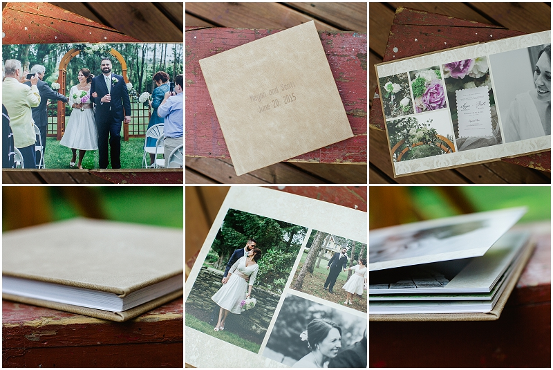 "I am so completely thrilled with the quality of our wedding albums + had to share the most recent one that I designed. We recently started offering the distressed leather covers (""Sahara"" is pictured here) and I couldn't be more excited to start offering them to my couples =) M + S will be receiving their wedding album today and I am so excited for them to see it!"