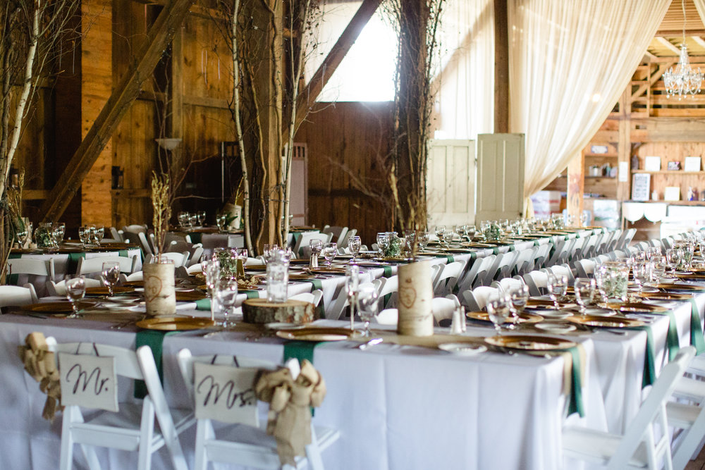 Rustic wedding reception set-up at Friedman Farms