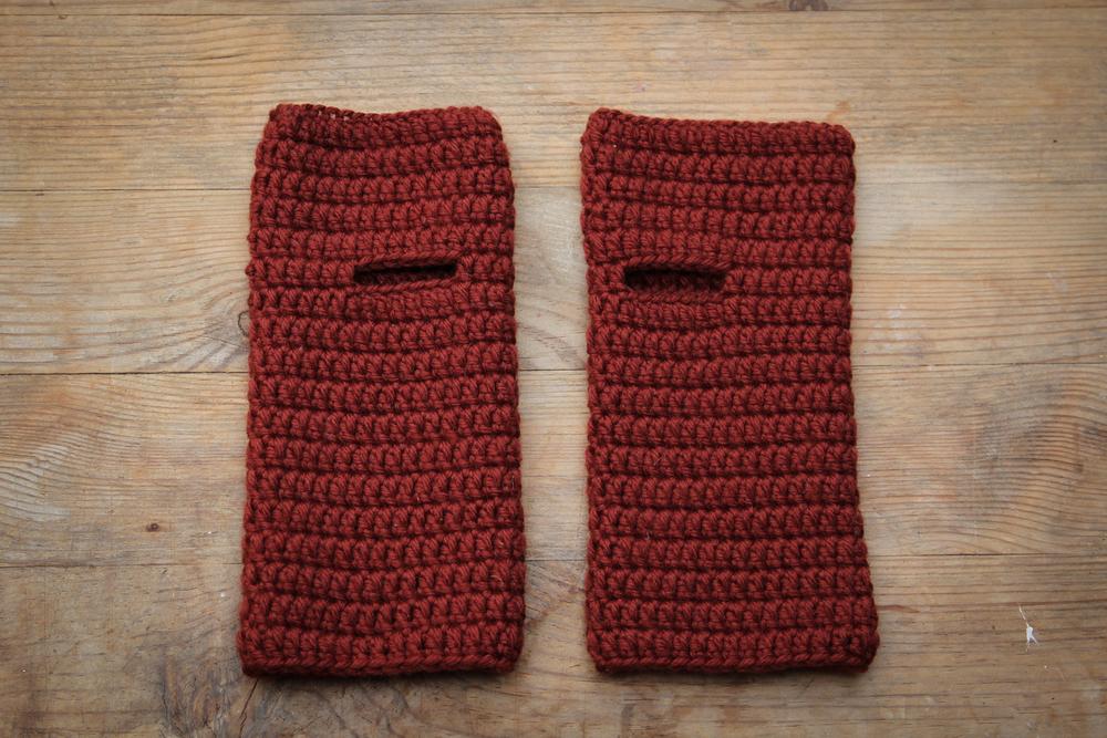 Rusty Red Wristwarmers by carolyn carter