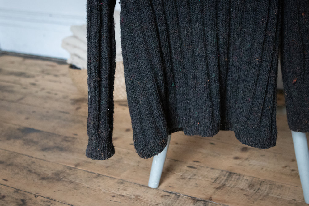 Vertical striped sweater.  Pattern by Petitknit (Irish wool sourced locally).