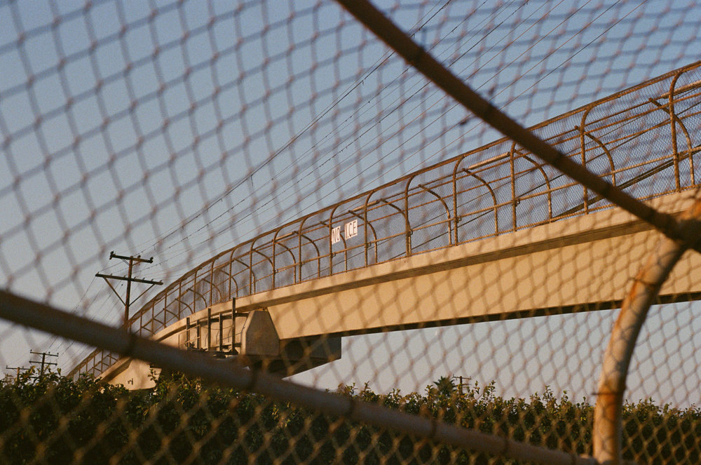 "a bridge above the freeway in alhambra, ca, or, under the sky of the los angeles area. 2016. there are many signs on these bridges, besides ""no i.c.e.,"" people have also hanged up ""no wars"" etc."