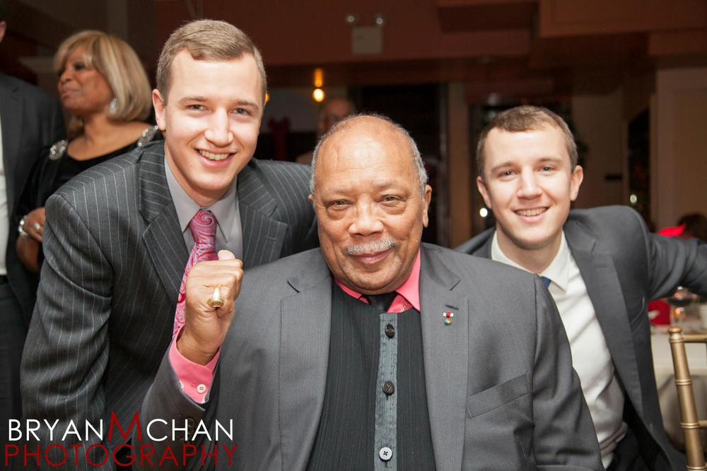Will (left) and Pete (right) with legendary musician and producer, Quincy Jones (Source)
