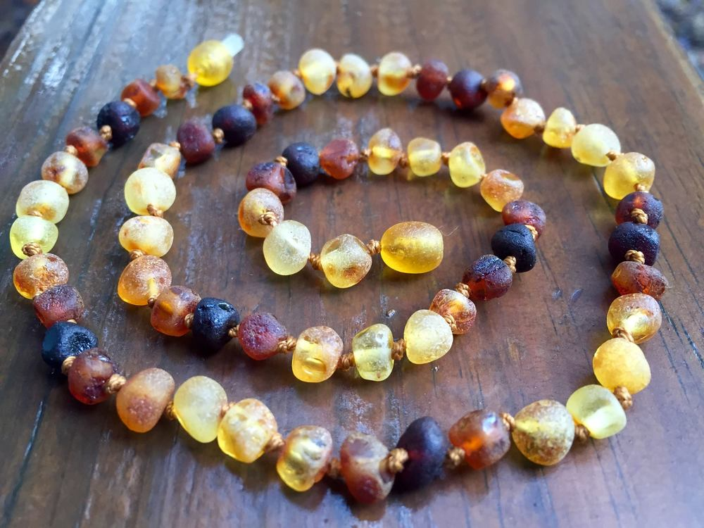 raw Baltic Amber rainbow connection collection
