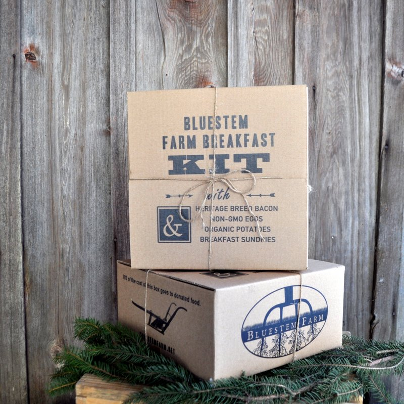 BREAKFAST KITS - $23 to $60  Heritage breed bacon, non-GMO eggs, organic potatoes. Deluxe kits contain either tea or hot sauce. (Feel free to message us with your preferences.)