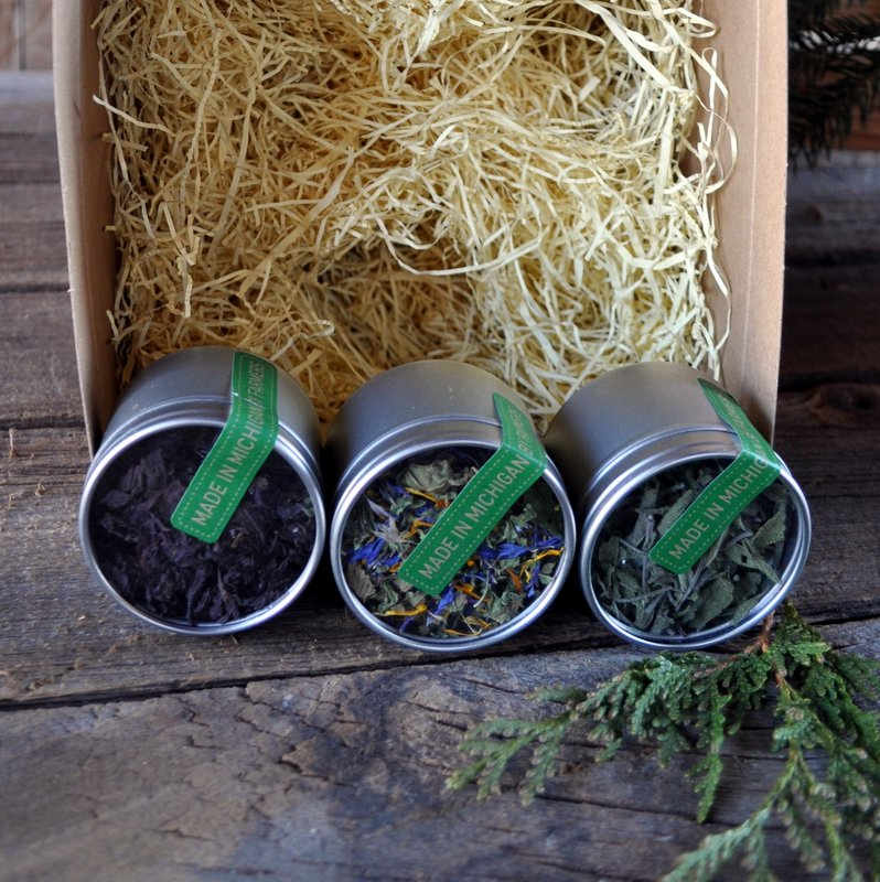 TEA KITS - 3 TINS ORGANIC TEA - $18  Purple shiso & basil tea, Bluestem tea, and sage tea (pictured left to right.)