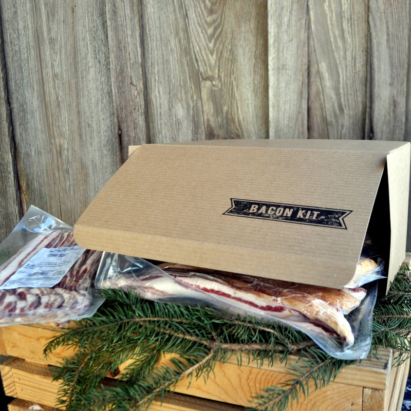 BACON KITS - 5 LBS BACON - $60  Surprise the foodie in your life with the gift of heritage breed, pasture-raised, non-GMO bacon.