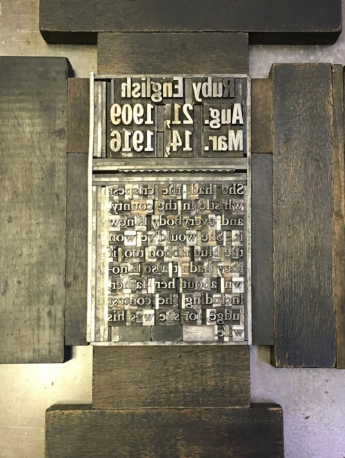 Type set on the Vandercook printer