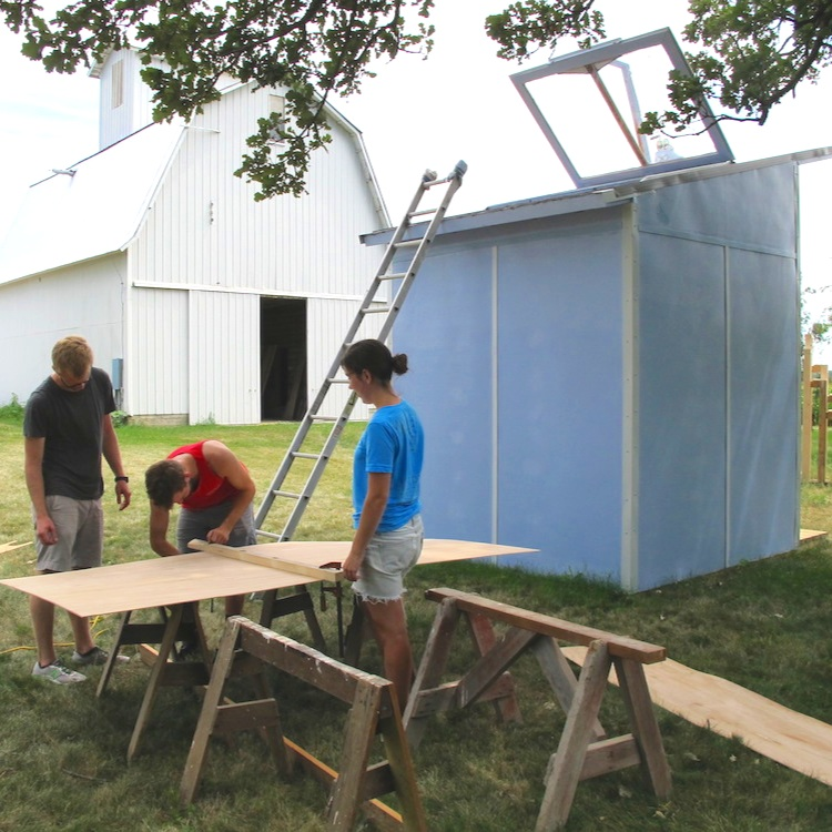 Nano Hut 2012-2014 - An experiment in tiny living designed by Joe Lacina with assistance from many visiting artists.