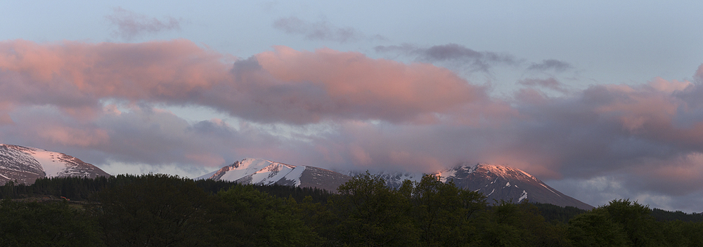 Sunset on the snowy mountains