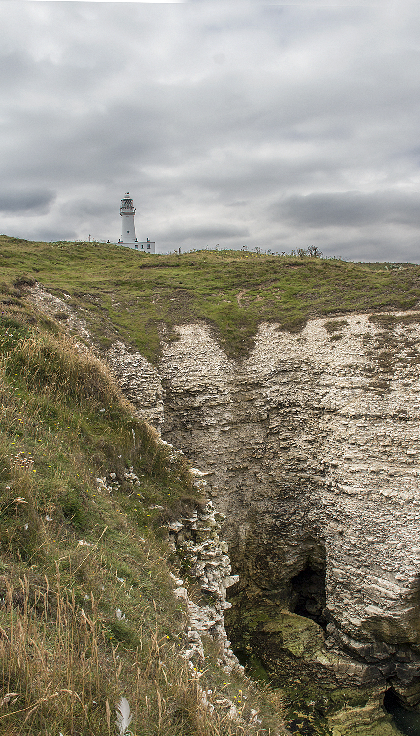 Flamborough lighthouse and cliffs