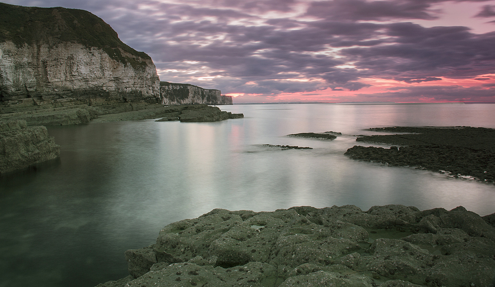 Last light at Thornwick bay