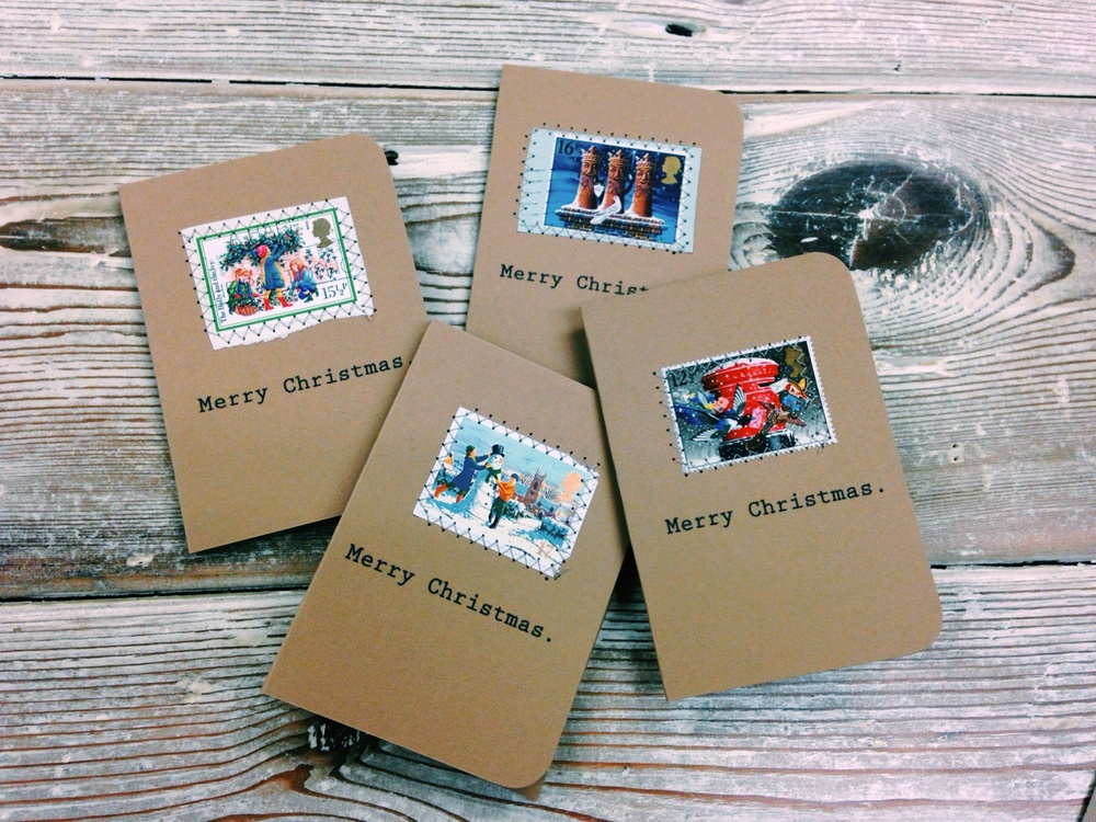 old stamp christmas cards oh squirrel